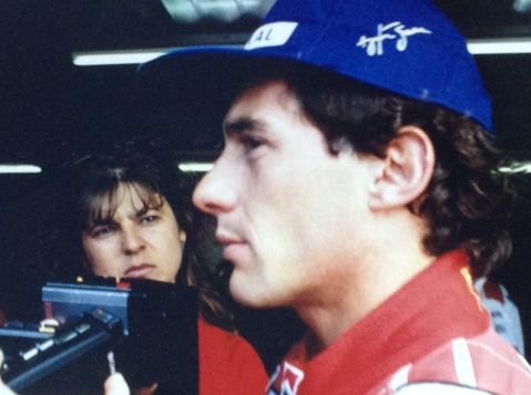 Ayrton giving an interview, I am near him