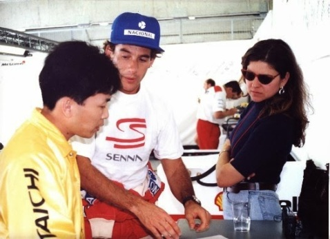Ayrton , a HOnda engineer and I pouring over some telemetry documents