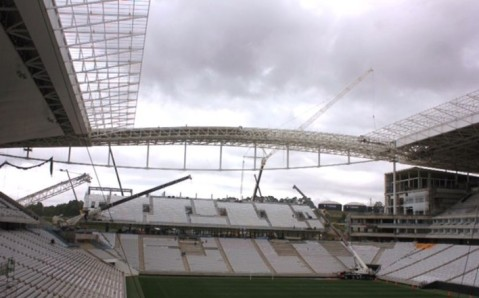 View of half finished stadium