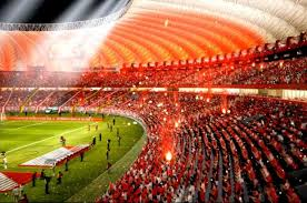 The stadium lit in red for the party