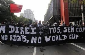 A banner stating No world Cup